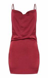 Burgundy Cowl Satin Bodycon Dress, Red