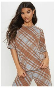 Grey Knitted Oversized Checked Top, Grey