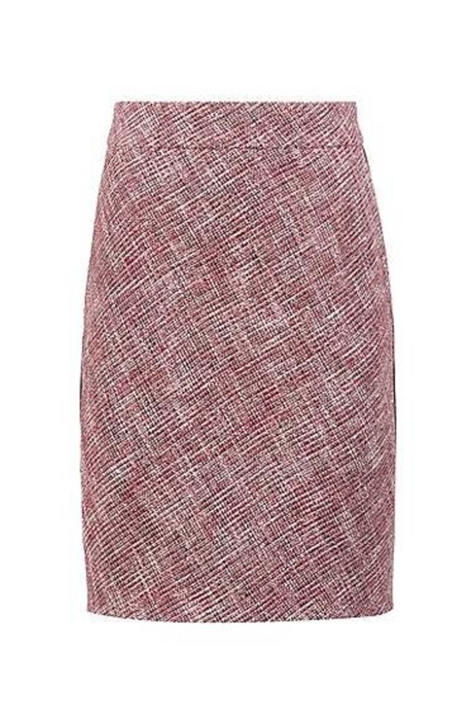 Tweed pencil skirt with faux-leather piping detail
