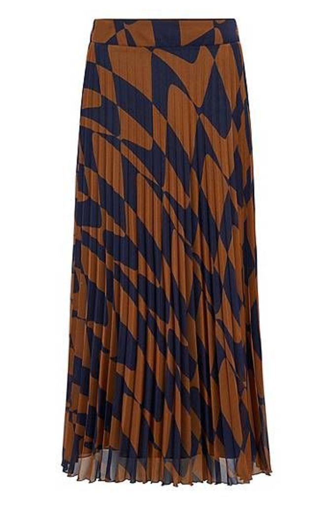 A-line skirt in Italian plissé with graphic wave print