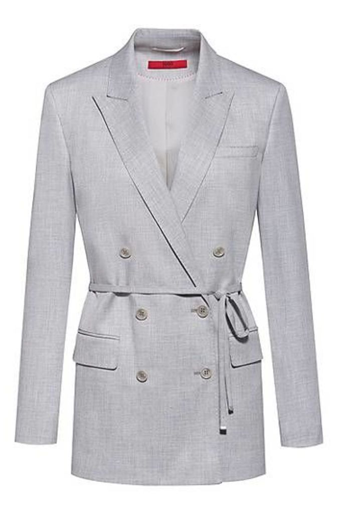 Double-breasted relaxed-fit jacket with tie belt