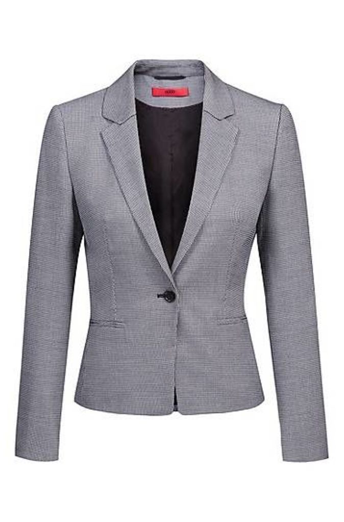One-button jacket in patterned stretch fabric