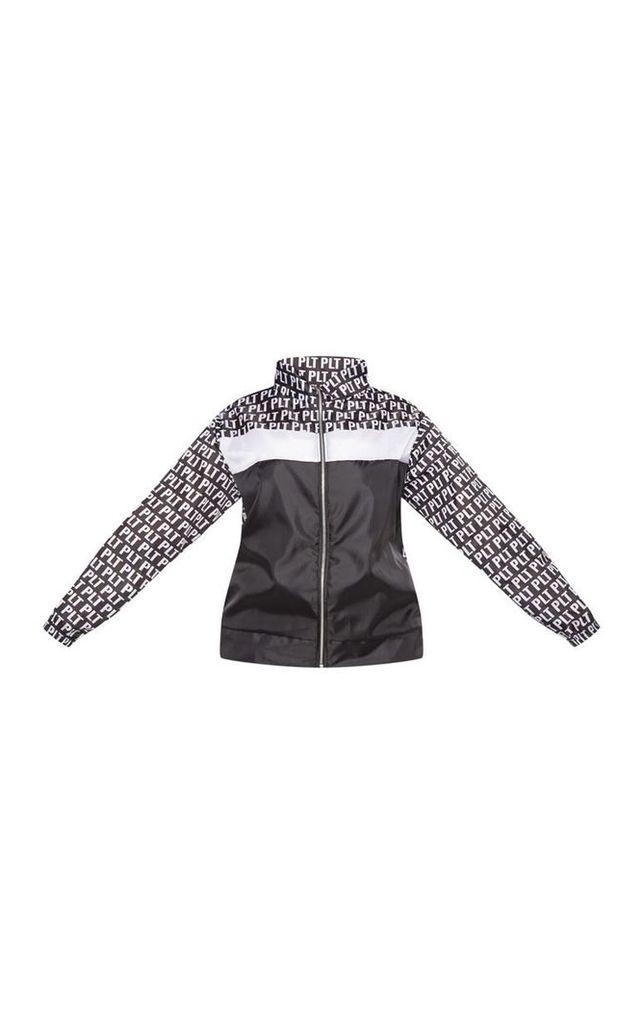 PRETTYLITTLETHING Plus Black Mono Printed Panel Shell Suit Jacket, Black