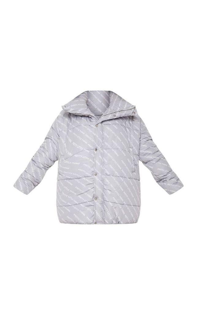 PRETTYLITTLETHING Plus Grey Print Puffer Jacket, Grey