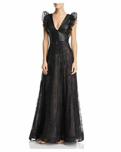 Nha Khanh Faux-Leather & Lace Gown