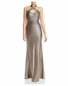 Aqua Sequined Halter Gown - 100% Exclusive