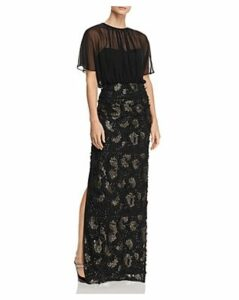 Aidan Mattox Sequined Floral-Applique Gown