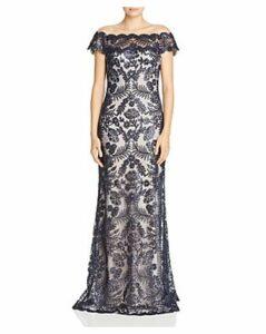 Tadashi Shoji Embellished Illusion Gown