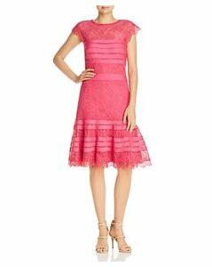 Tadashi Shoji Striped Floral Lace A-Line Dress