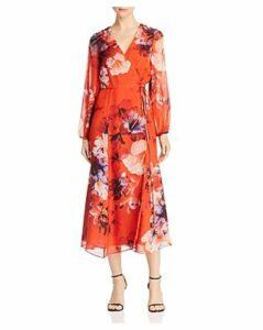 Michelle Mason Floral Print Silk Wrap Midi Dress