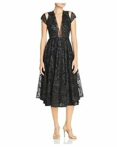Sau Lee Alyssa Embroidered Mesh Fit-and-Flare Midi Dress