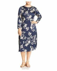 Vince Camuto Plus Long-Sleeve Floral-Print Dress
