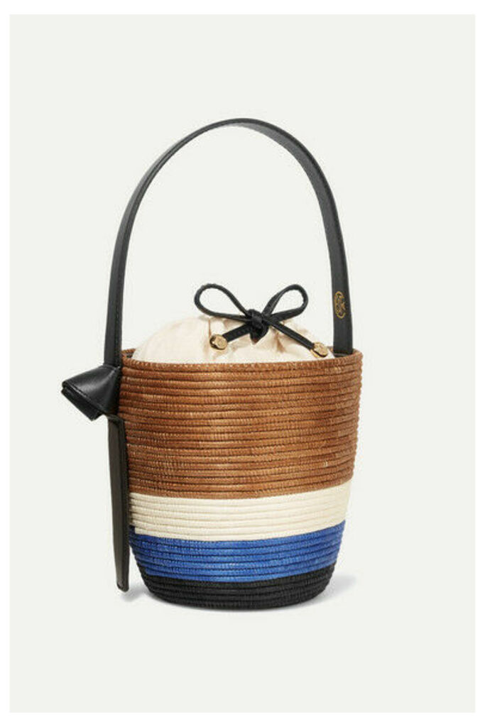 Cesta Collective - Lunchpail Leather-trimmed Woven Sisal Bucket Bag - Tan