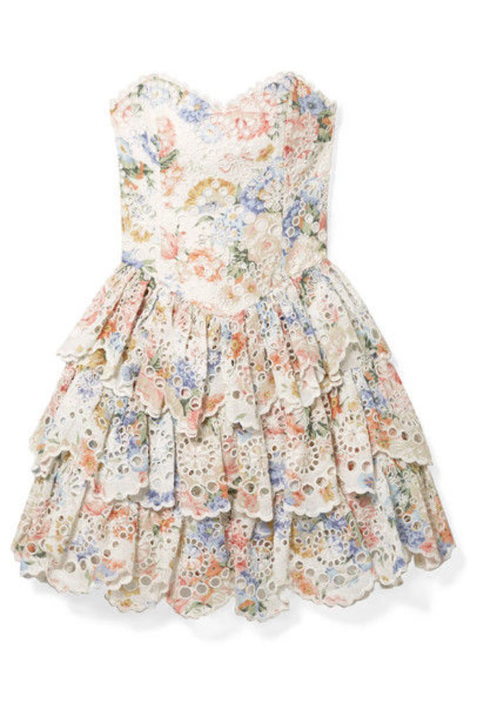 Zimmermann - Bowie Ruffle Strapless Floral-print Broderie Anglaise Linen Mini Dress - Cream
