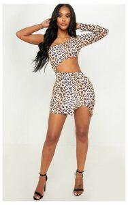 Shape Brown Leopard Print Asymmetric Cut Out Bodycon Dress, Brown