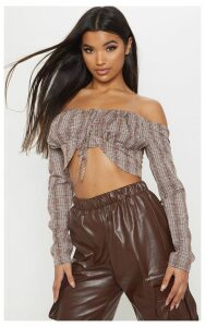 Brown Check Lace Up Cup Detail Bardot Crop Top, Brown