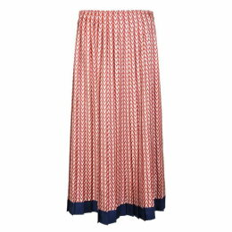 Valentino Optical Print Silk Midi Skirt
