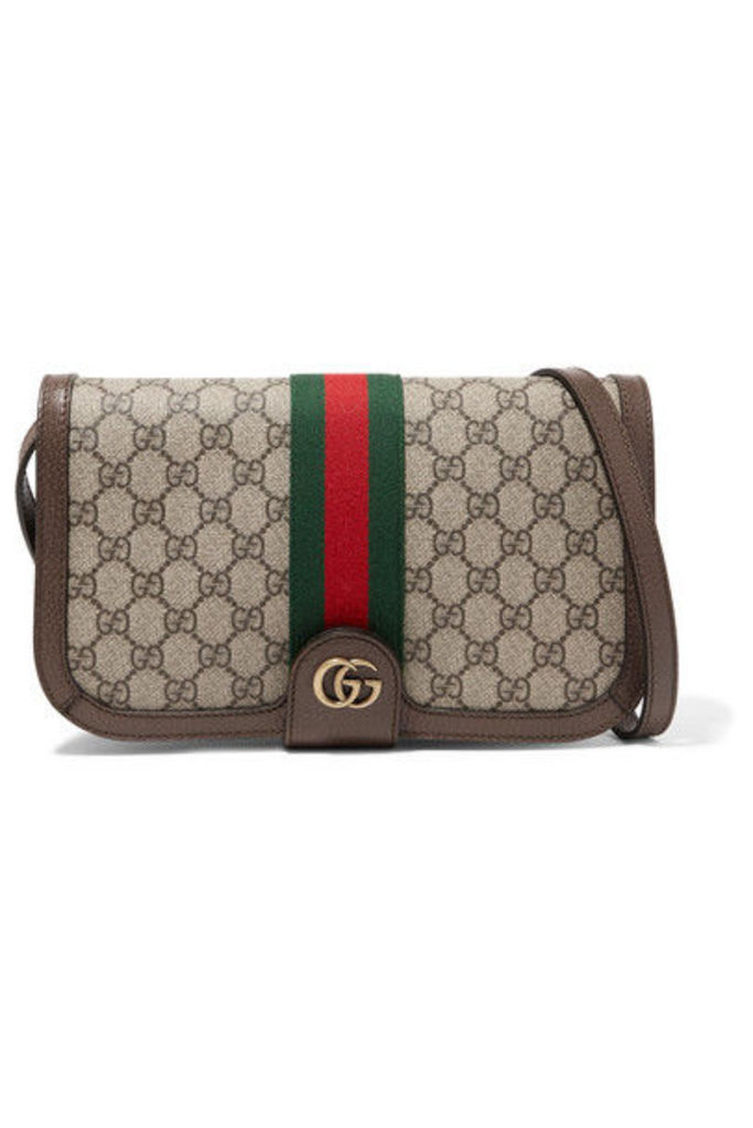 Gucci - Ophidia Textured Leather-trimmed Printed Coated-canvas Shoulder Bag - Brown