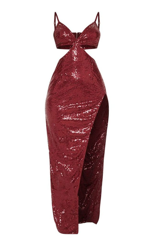 Burgundy Sequin Disc Cut Out Maxi Dress, Red