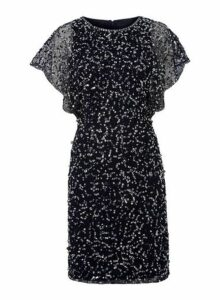 Womens *Roman Originals Navy Sequin Detail Shift Dress- Blue, Blue
