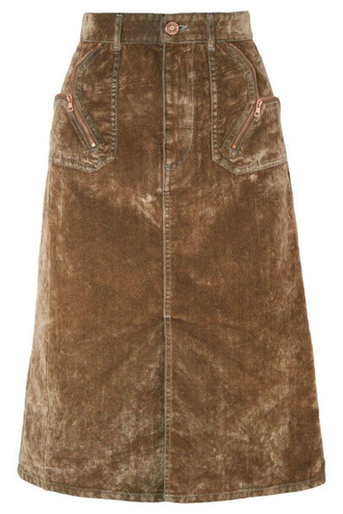 See By Chloé - Cotton-blend Velvet Midi Skirt - Brown