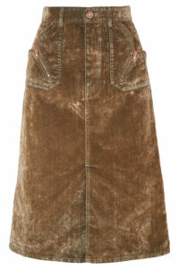 See By Chloé - Cotton-blend Velvet Midi Skirt - Brown