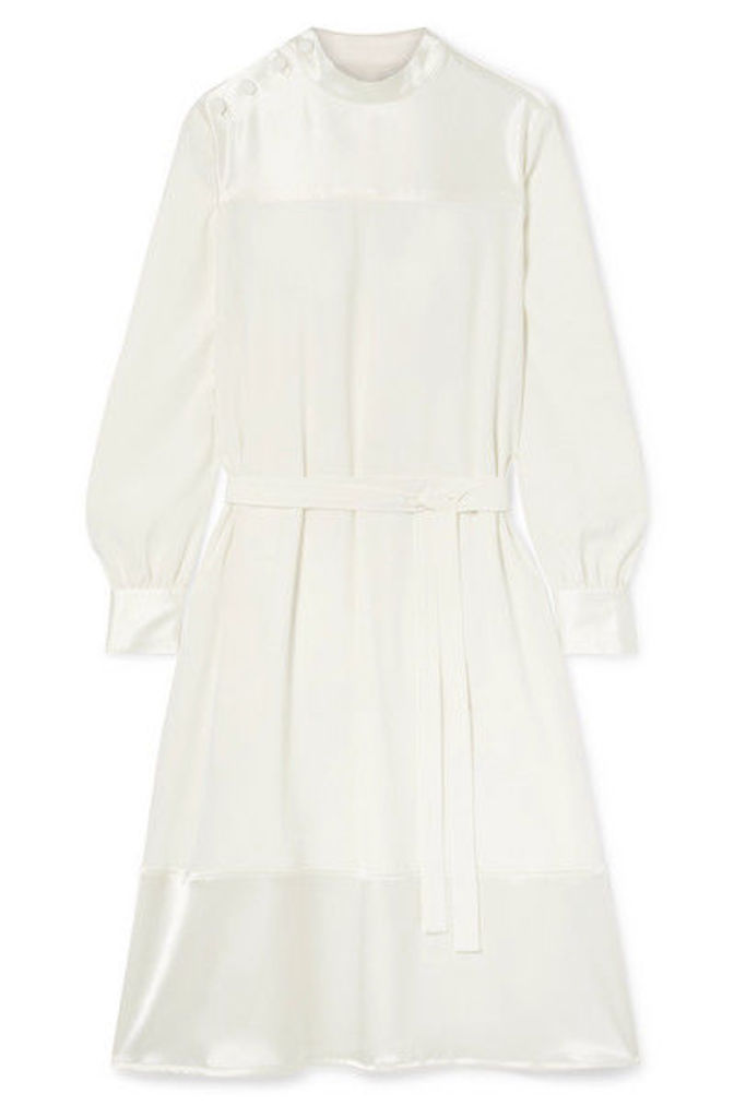 Co - Satin-trimmed Crepe De Chine Dress - Ivory
