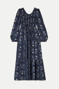 APIECE APART - Olivia Smocked Floral-print Silk-satin Maxi Dress - Navy