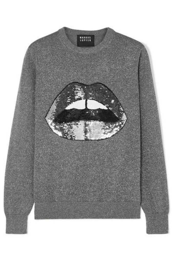 Markus Lupfer - Mia Sequined Lurex And Cotton-blend Sweater - Silver