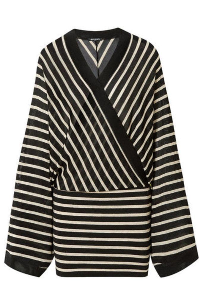 Balmain - Wrap-effect Metallic Striped Stretch-jersey Mini Dress - Black