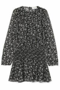 SAINT LAURENT - Shirred Printed Silk-georgette Mini Dress - Black