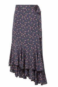 APIECE APART - Rosita Floral-print Voile Wrap Skirt - Navy