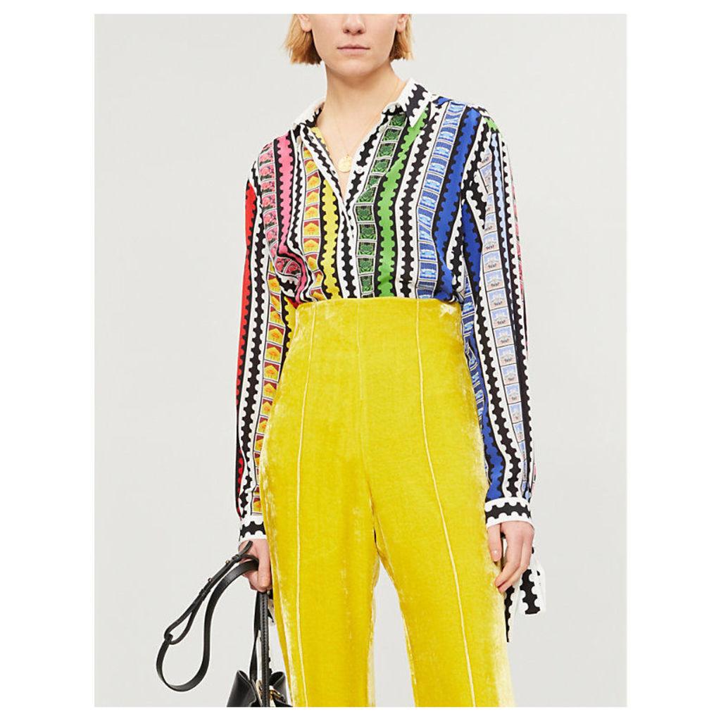 Mary Katrantzou Ladies Rainbow Stamp Goya Contrast Stripes Silk-Crepe Shirt