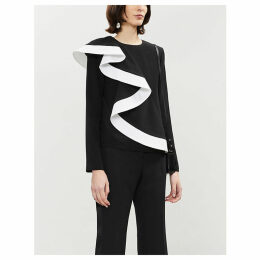 Givenchy Ladies Black Contrast-Ruffle Silk-Crepe Top