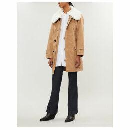 Faux-fur trimmed cotton-gabardine coat