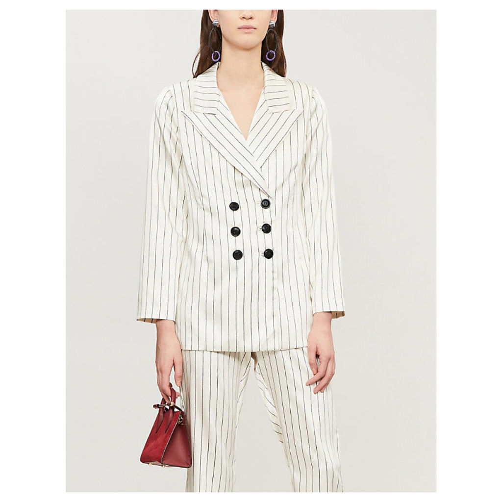Toni double-breasted striped satin jacket