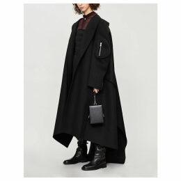 Oversized asymmetric wool wrap coat