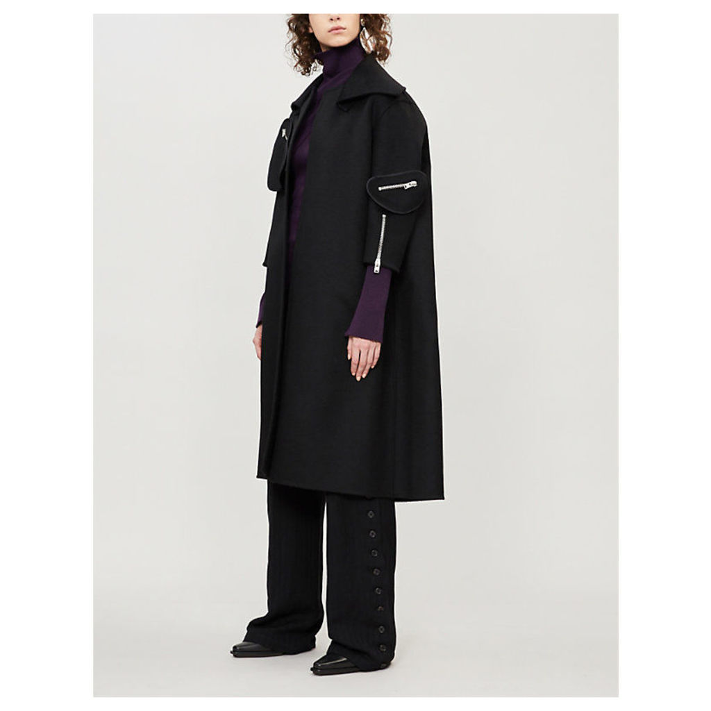 Zip-detail oversized wool coat