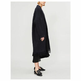 Fringed woven cocoon coat