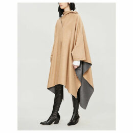 Hooded brushed-cashmere cape