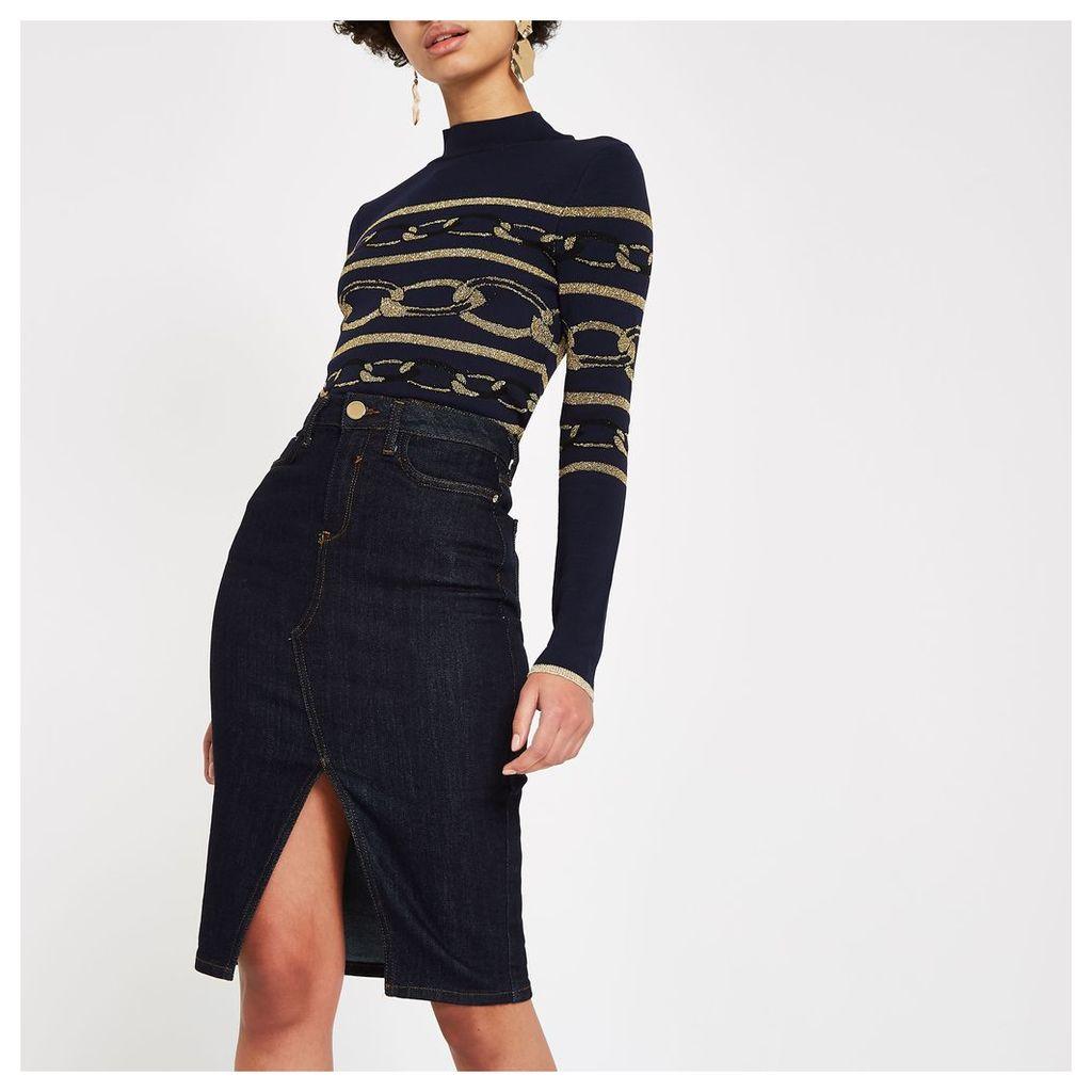 Womens Dark Blue denim pencil skirt
