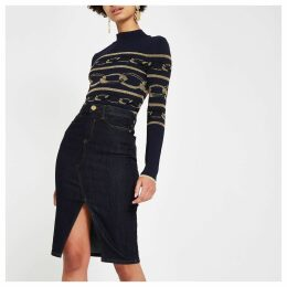 Womens Dark Blue denim pencil skirt