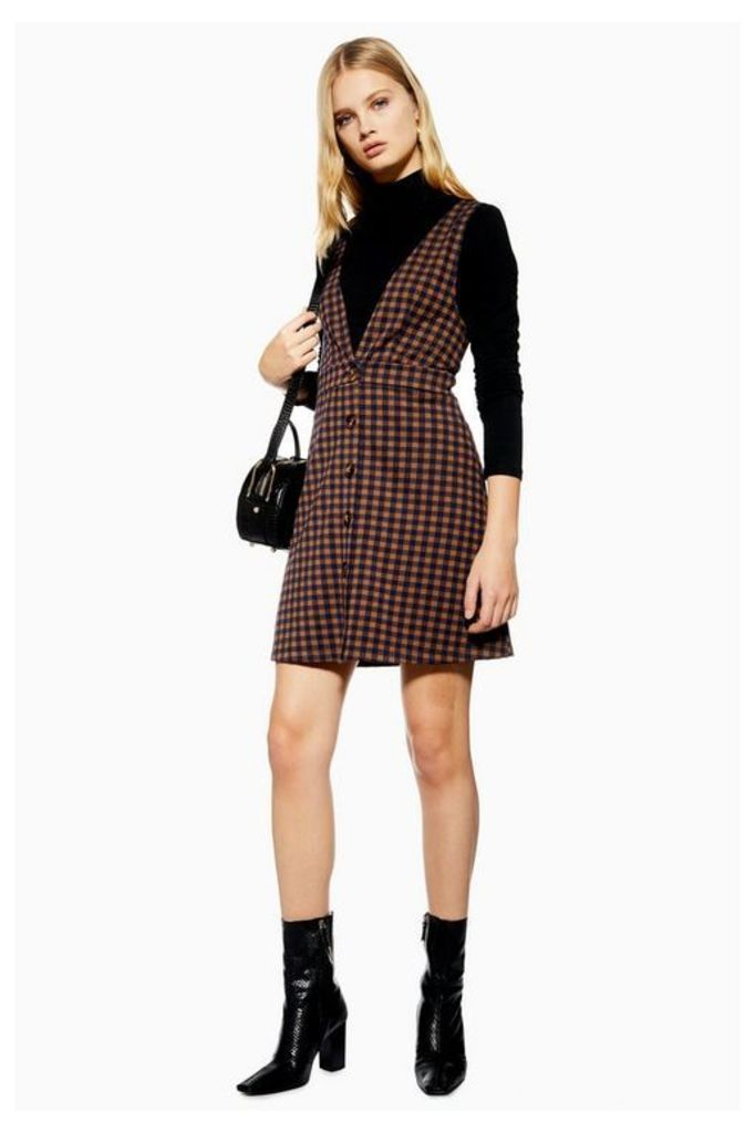 Womens Check Button Pinafore Dress - Navy Blue, Navy Blue
