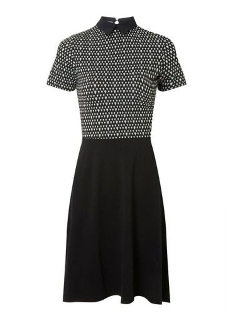 Womens Black Jacquard Heart Print 2-In-1 Dress- Black, Black