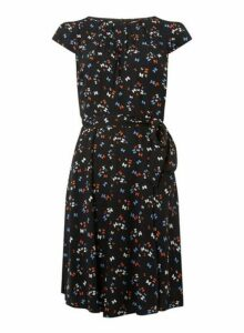 Womens **Billie & Blossom Tall Black Bow Skater Dress- Black, Black
