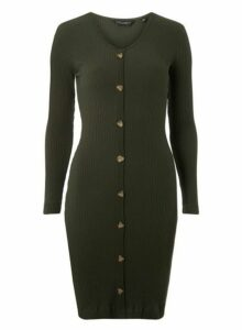 Womens Green Horn Effect Button Ribbed Bodycon Dress- Green, Green