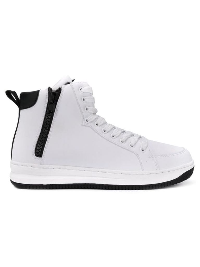 Ea7 Emporio Armani hi-top zip trainers - White
