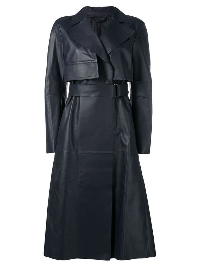 Sportmax leather trench coat - Blue