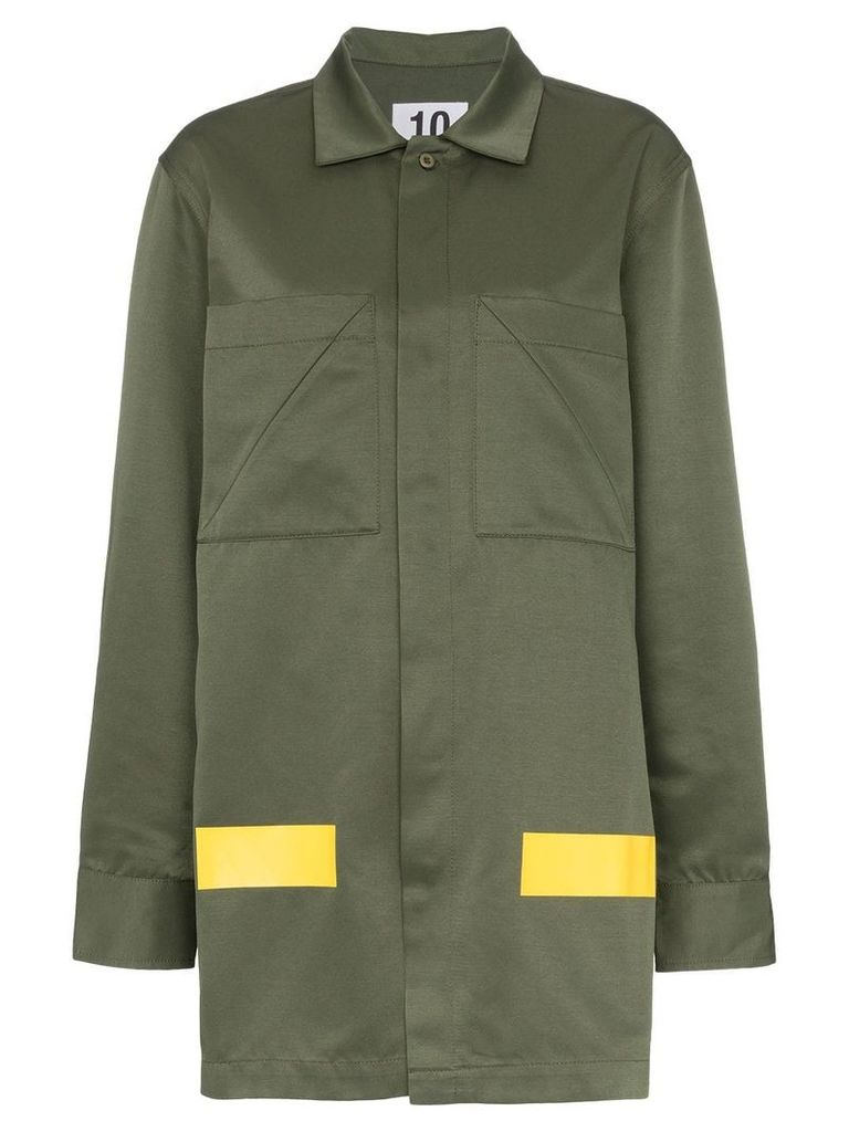 Ten Pieces patch pocket collared cotton blend army coat - Green