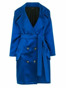 À La Garçonne satin oversized coat - Blue